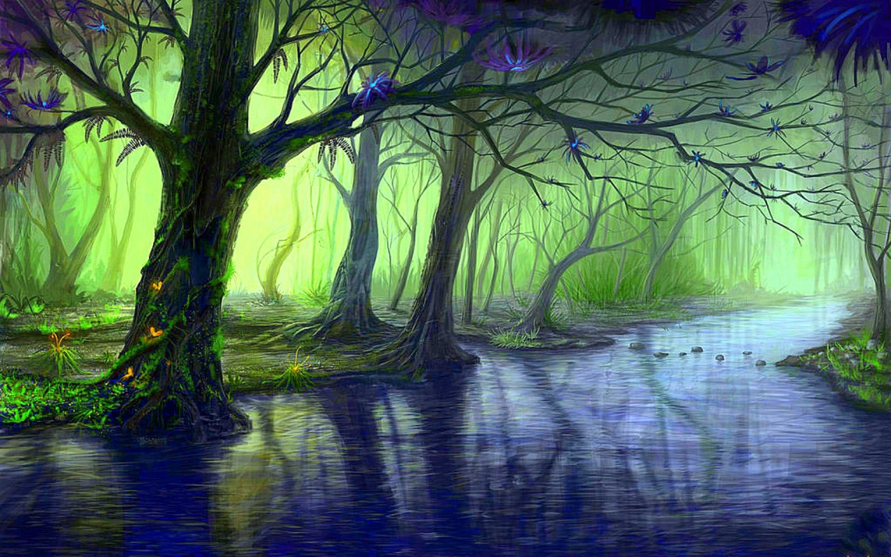 OriginalWide Enchanted Forest Blue Stream Wallpapers