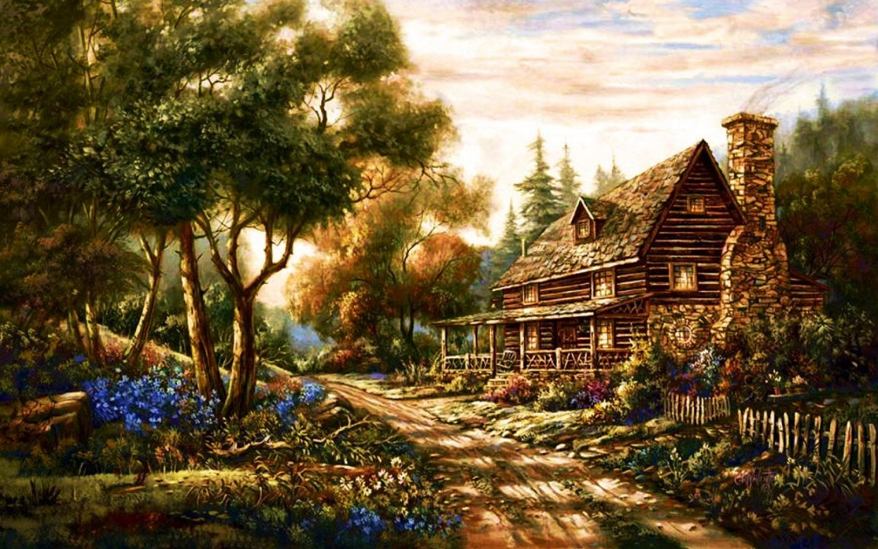 Forest Cottage Path Flowers Wallpapers Forest Cottage