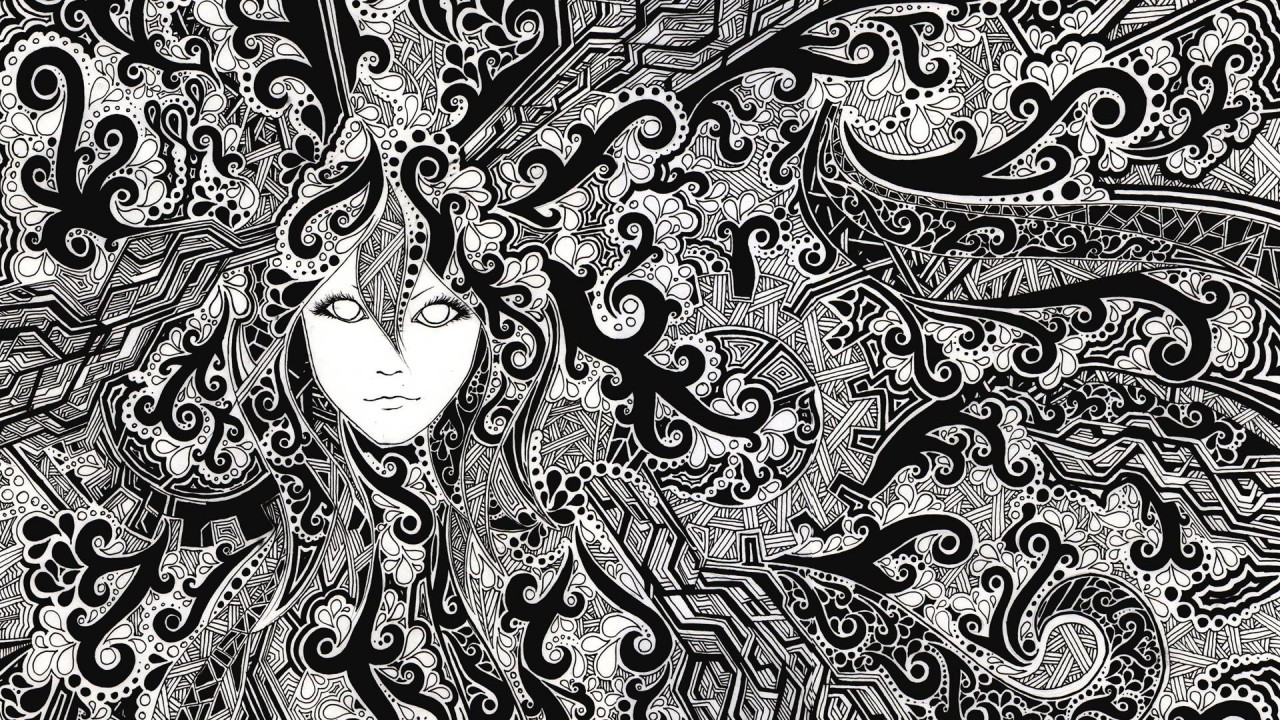 Face Psychedelic Black & White wallpapers