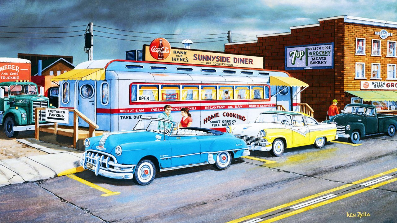 Cars People Street Diner Retro Wallpapers