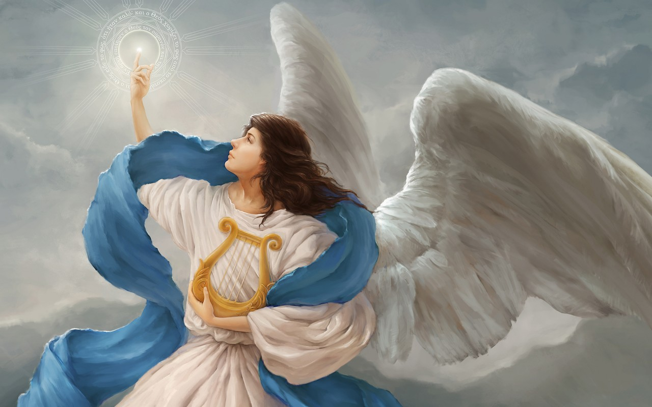 Angel Wings Harp Symbol Light wallpapers