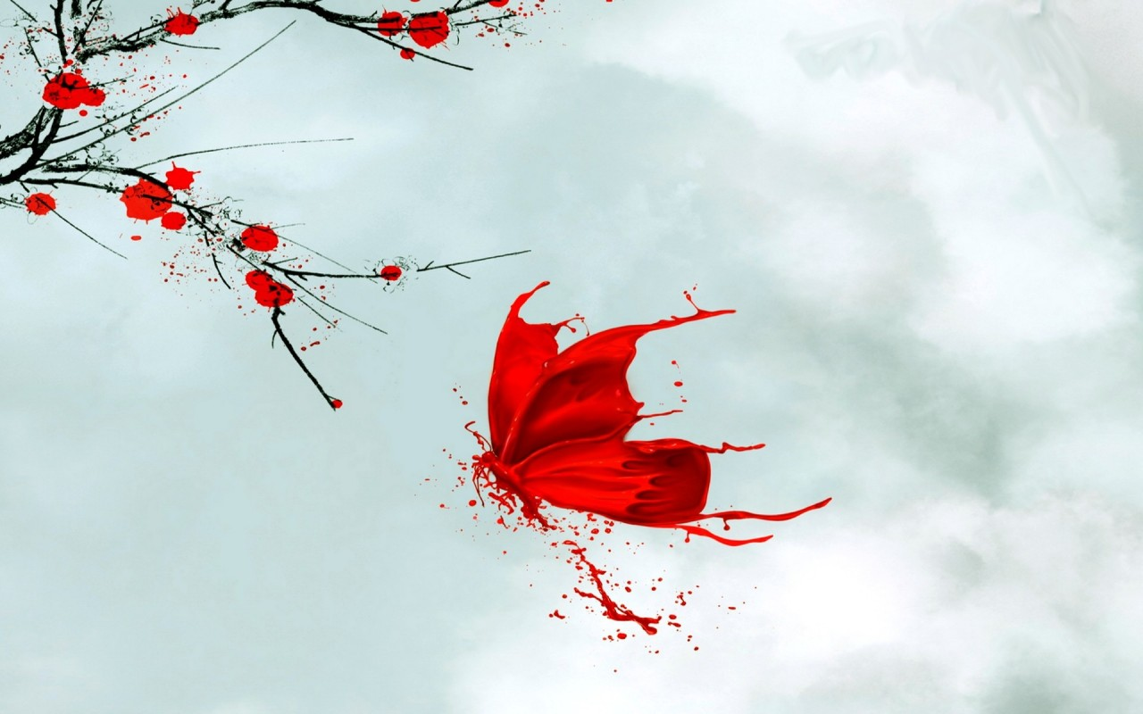 Red Butterfly Flowers Japanese wallpapers