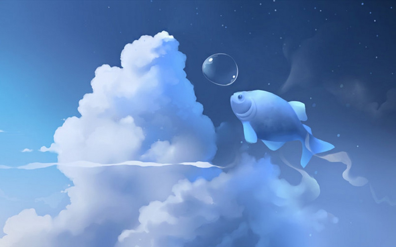 Cute Fish Bubble Clouds Sky wallpapers