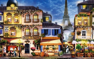 Houses Shops Eiffel Tower wallpapers