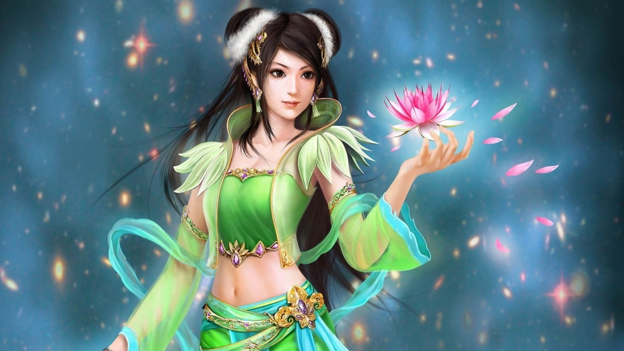 Woman green clothes lotus wallpapers woman green clothes lotus stock photos - 3d girl wallpaper download ...