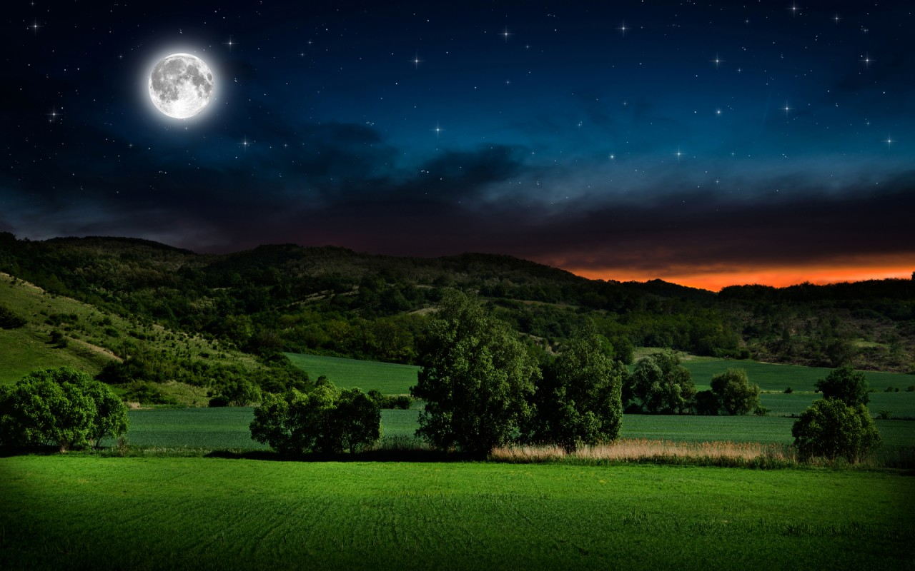 field hills trees full moon wallpapers | field hills trees full moon