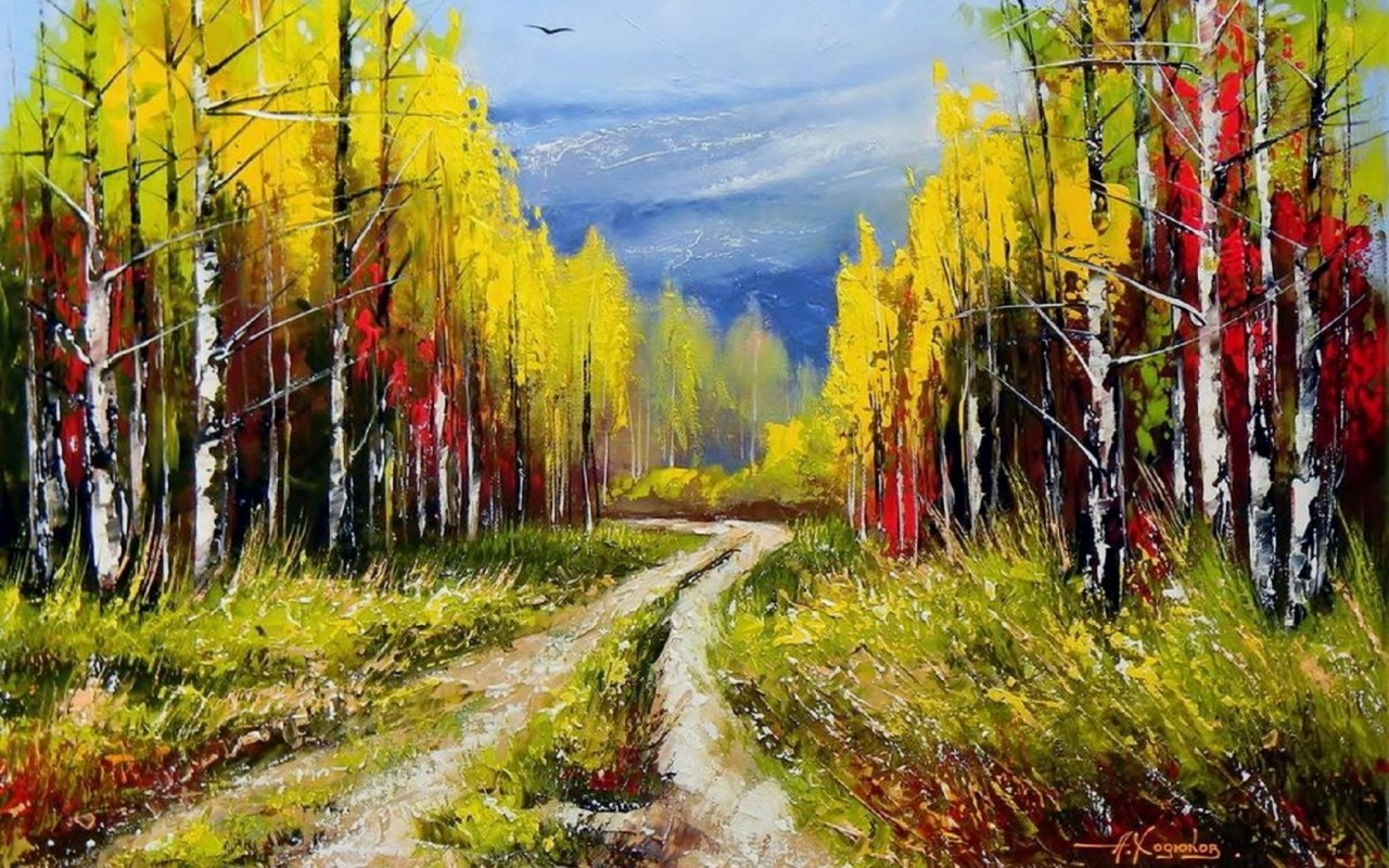 Colorful Trees Path Bird Sky Wallpapers