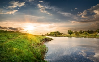 Grass Hills River Trees Sunset wallpapers