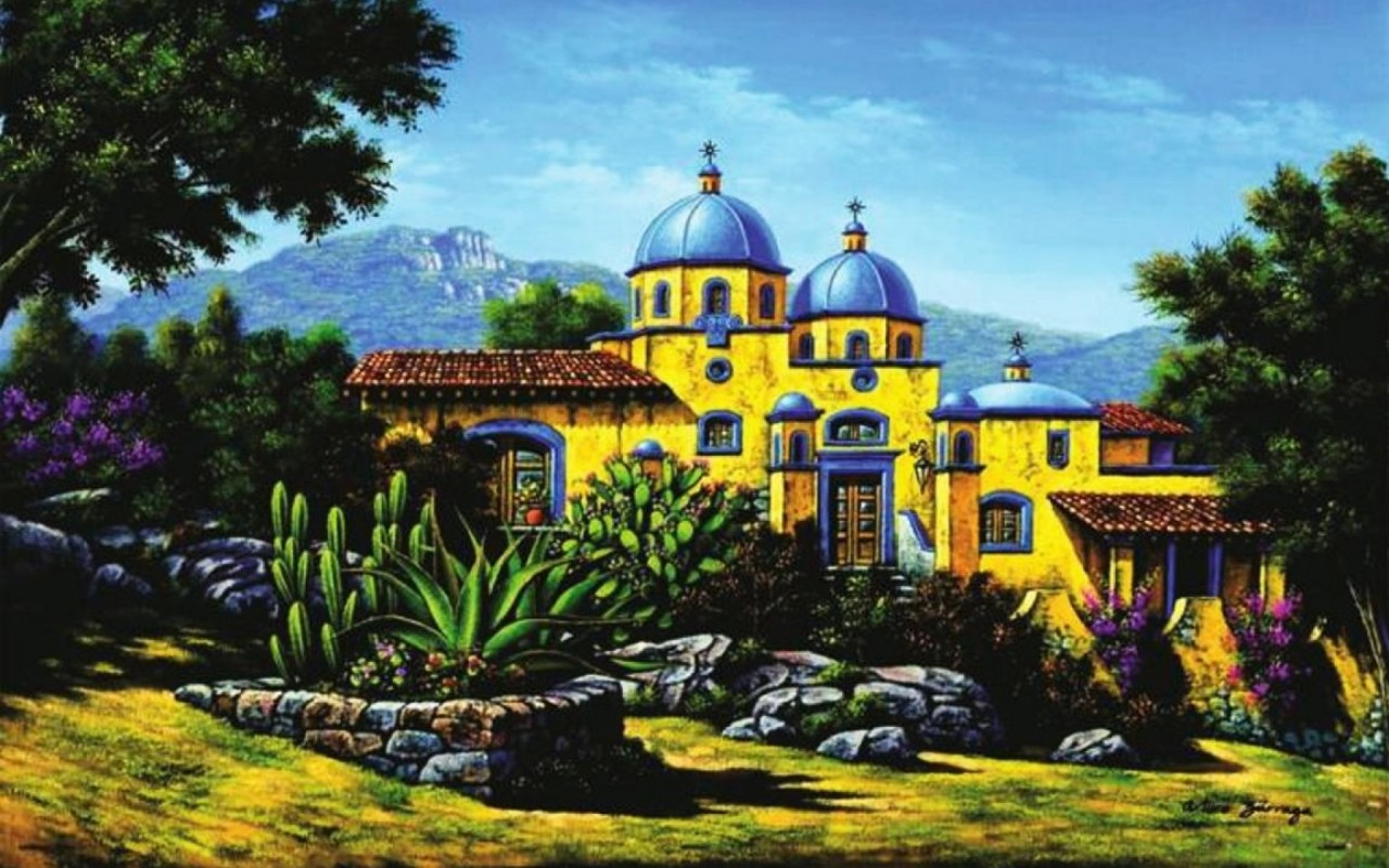 Church Plants Village Spain wallpapers