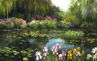 Willow Nice Lily Pond Iris wallpapers