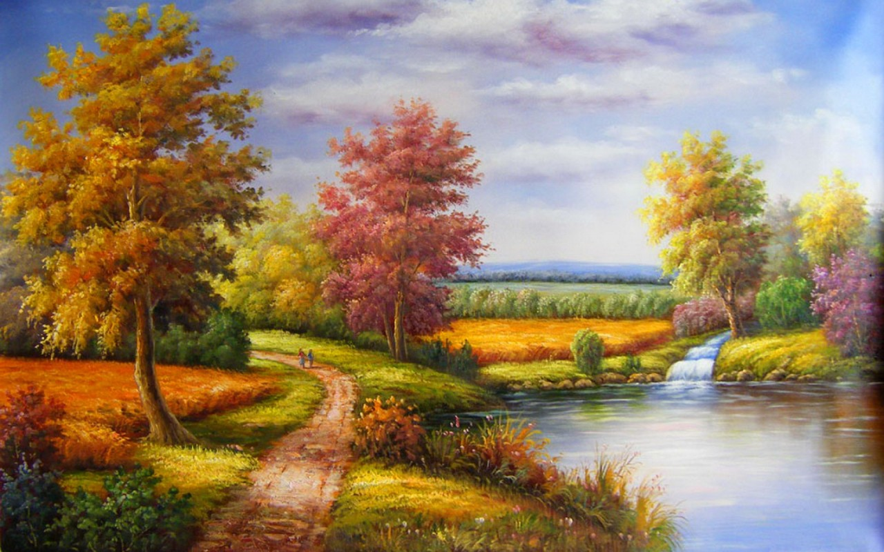 Calico Trees Lake Way People wallpapers