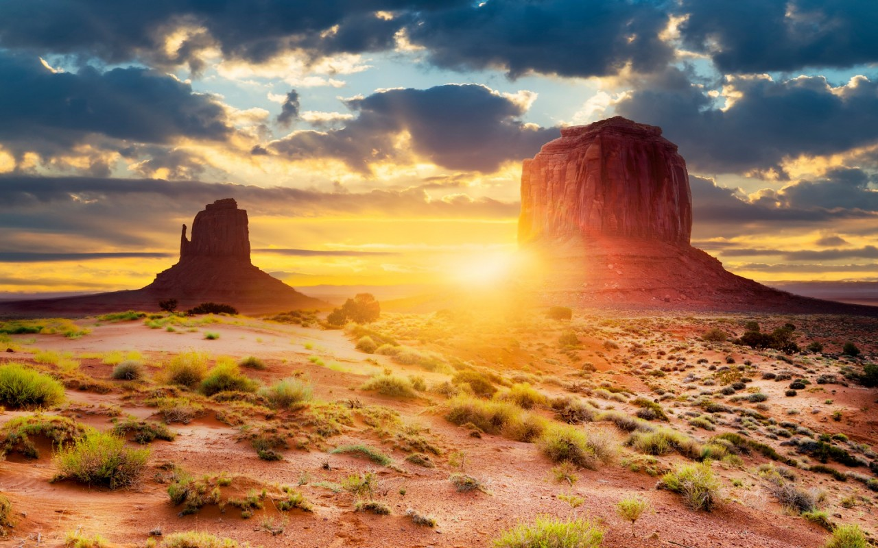 Monument Valley Navajo Reservation Deserts Nature Background