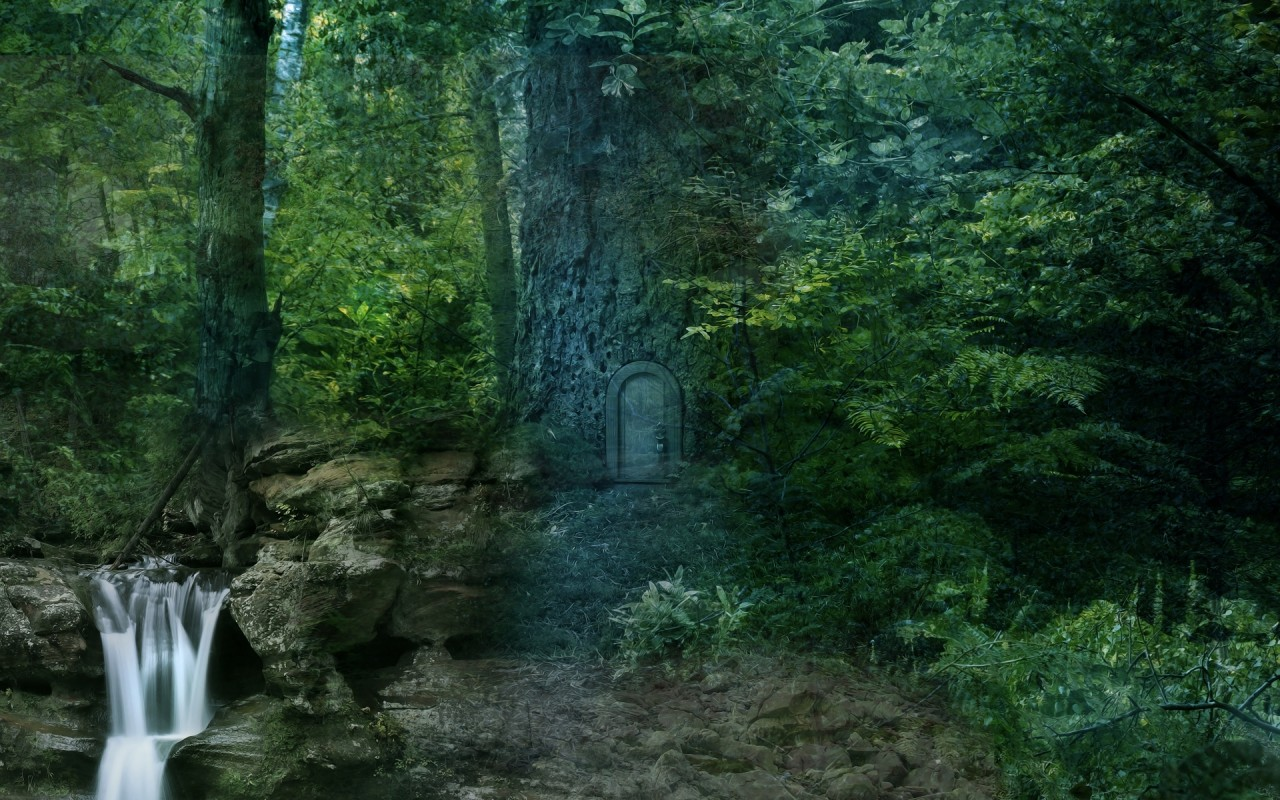 Forest Waterfall Secret Door wallpapers