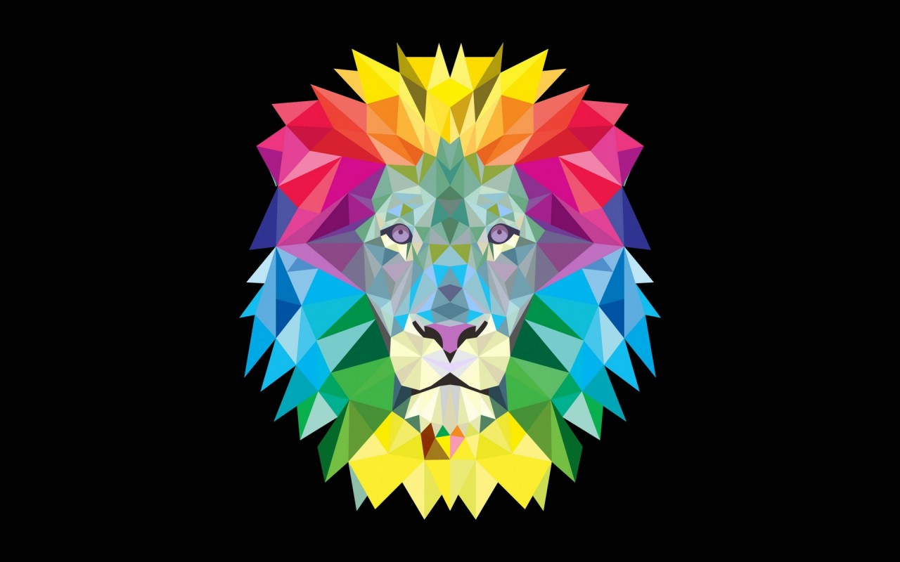 Free Colorful Geometric Wallpaper: Colorful Geometric Lion Wallpapers