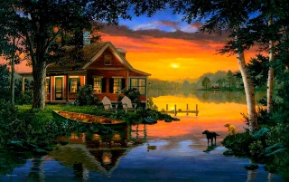 Cabin Lake Ducks Dogs Dusk wallpapers