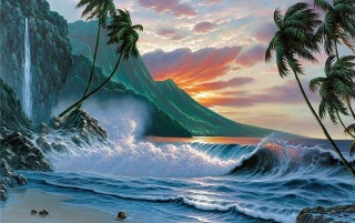 Original Ocean Wave Palms Island Sunset Wallpapers