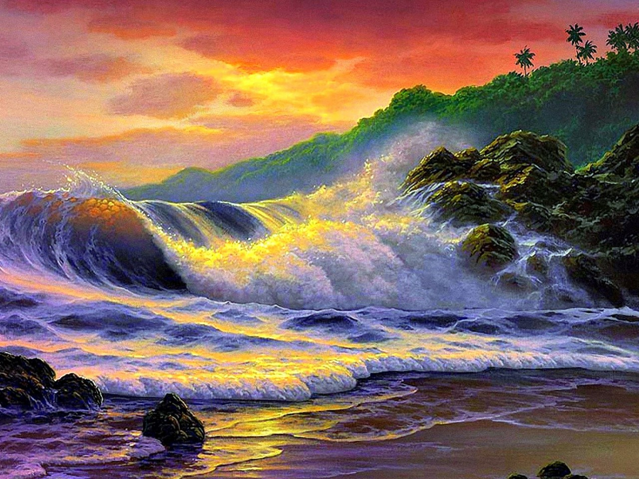 Sunset With Sea Wave Tap To See More Breathtaking Beach: Ocean Wave Rocks Palms Sunset Wallpapers