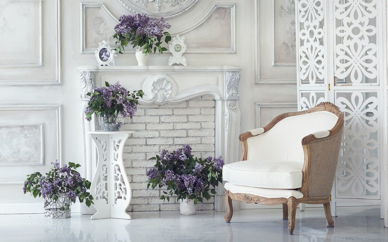 White Chair & Purple Lilac wallpapers | White Chair & Purple Lilac ...
