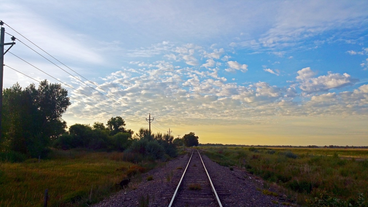 Rail Road Field Trees Pole Sky wallpapers