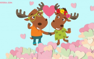 Moose Couple in Love wallpapers