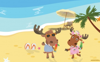 Moose Couple at the Beach wallpapers