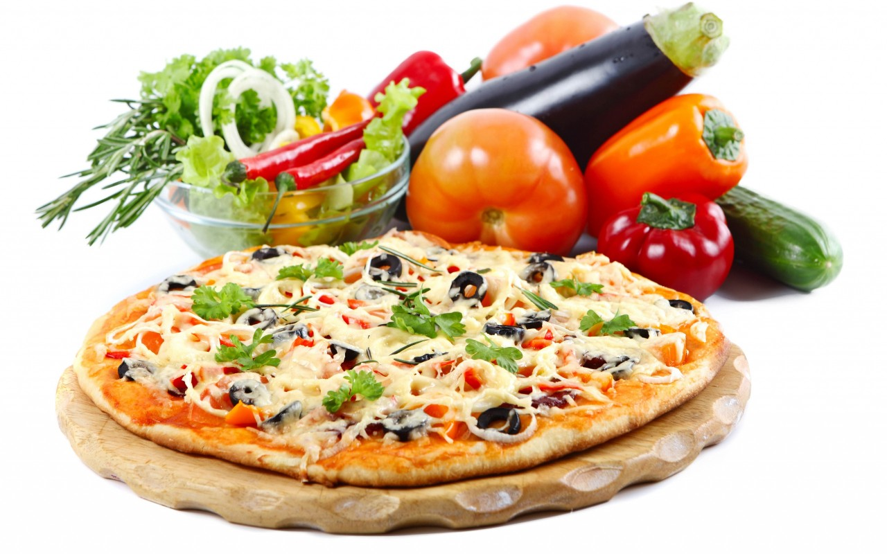 Pizza Verduras Blanco Backgro wallpapers