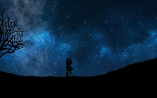 starry sky, couple, love wallpapers