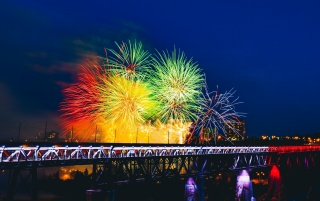 fireworks, bridge, holiday wallpapers