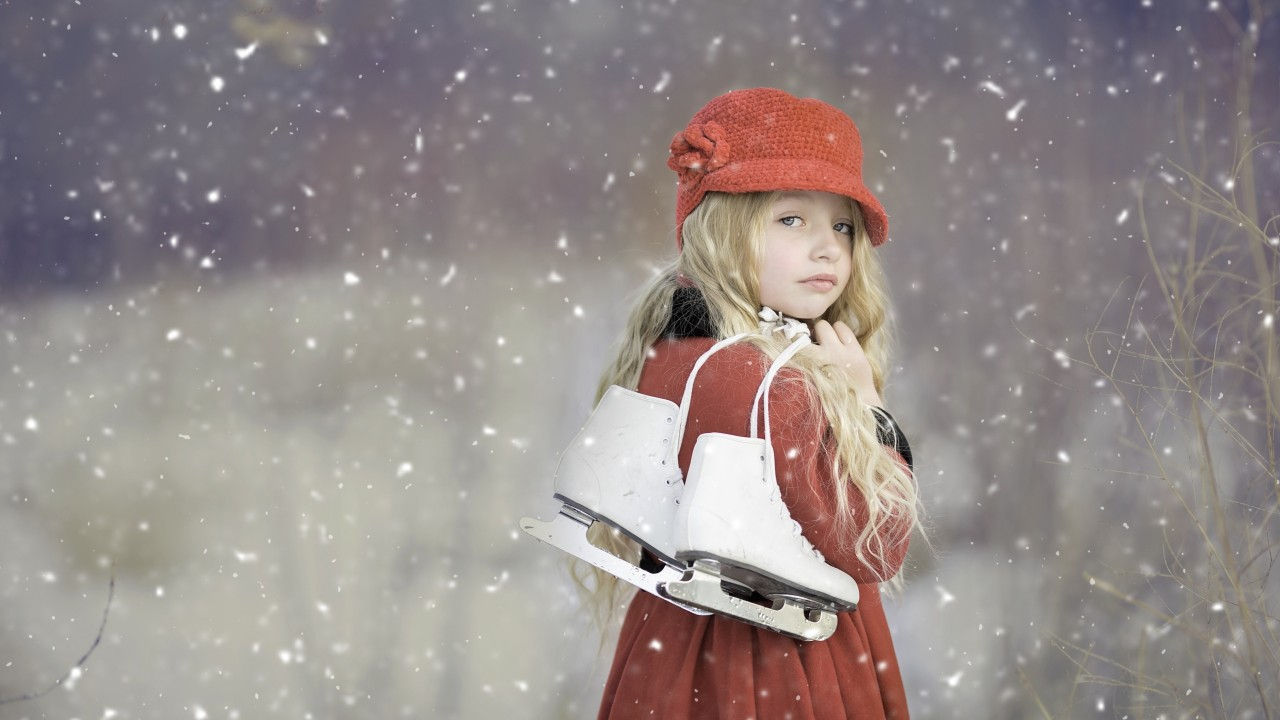 girl, baby, skating, snow wallpapers
