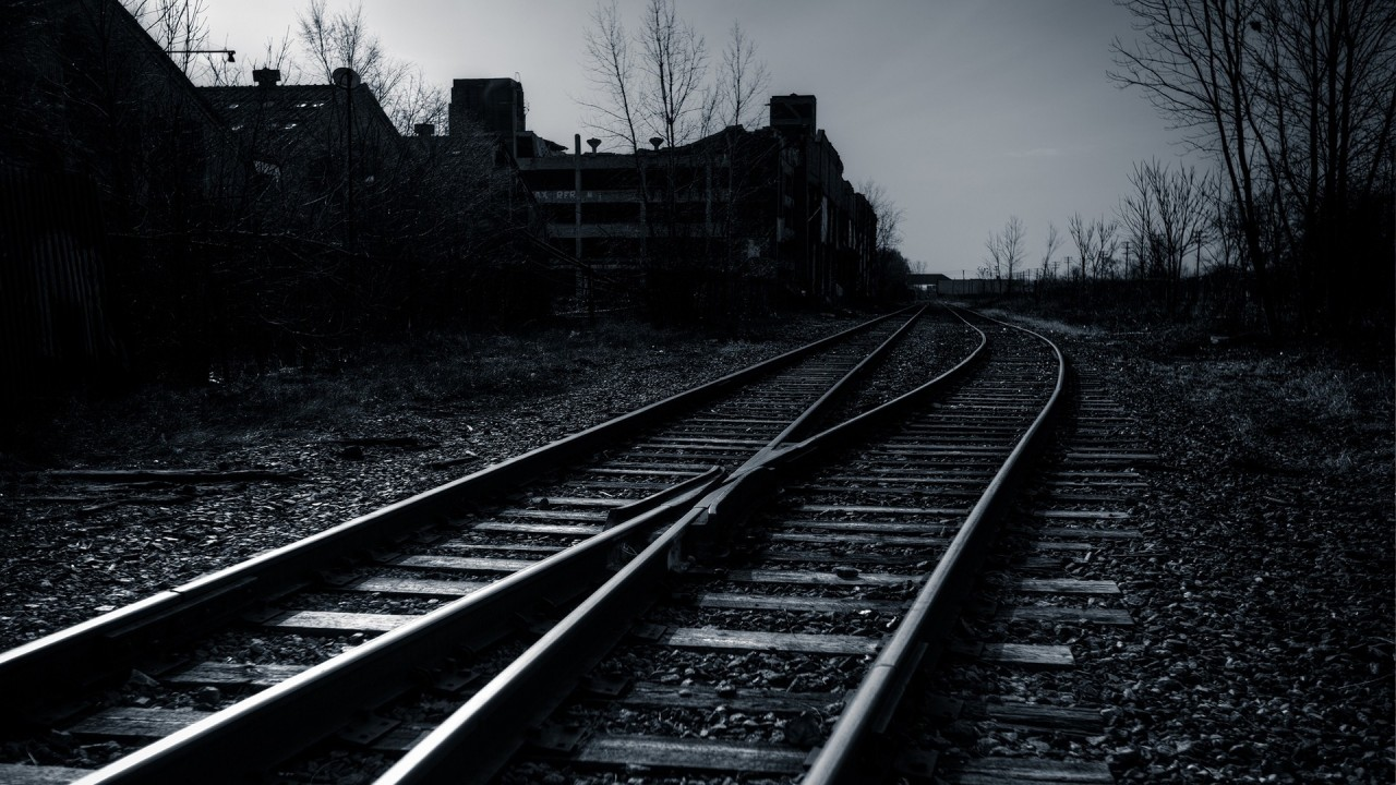 railway, sky, evening, bw wallpapers