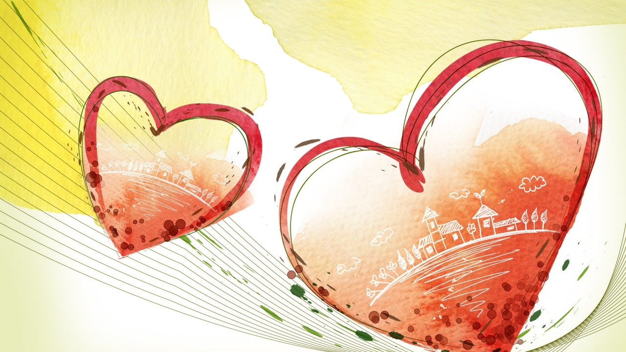 heart, couple, love, card, pai wallpapers