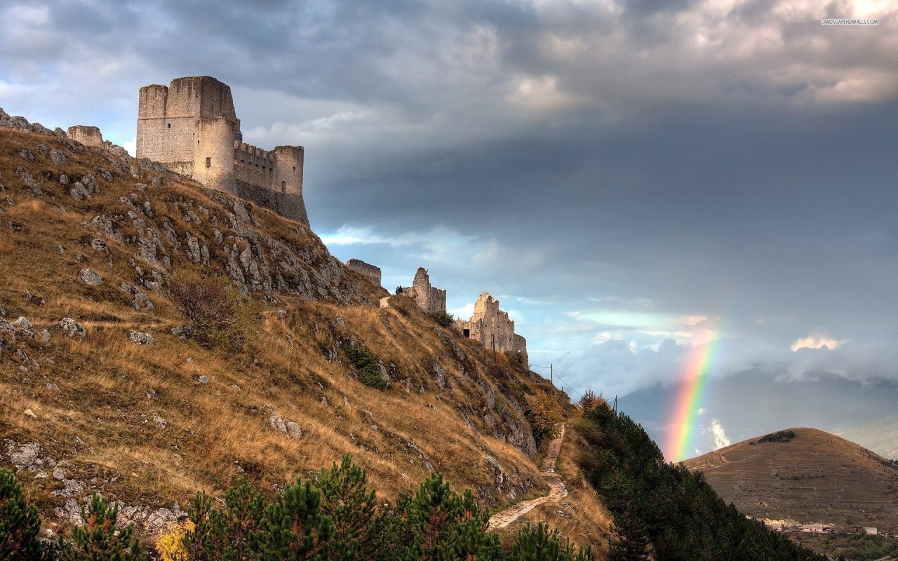 Rainbow over the hills, castle, nature wallpapers