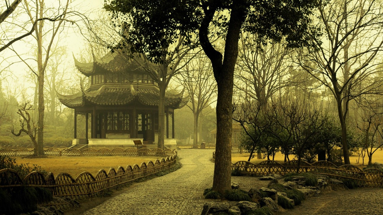 Foggy day in an asian park, world wallpapers
