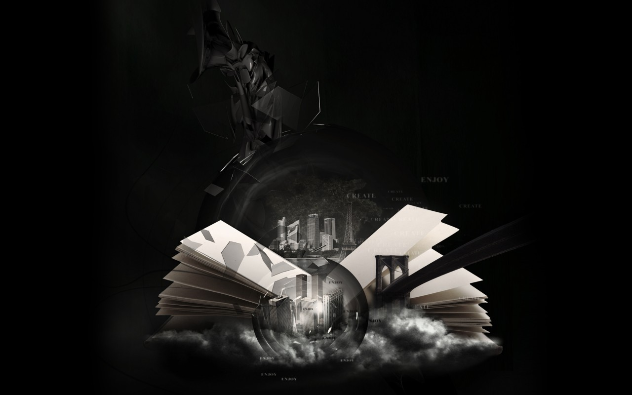 The World In A Book Bridge City Digital Art Wallpapers