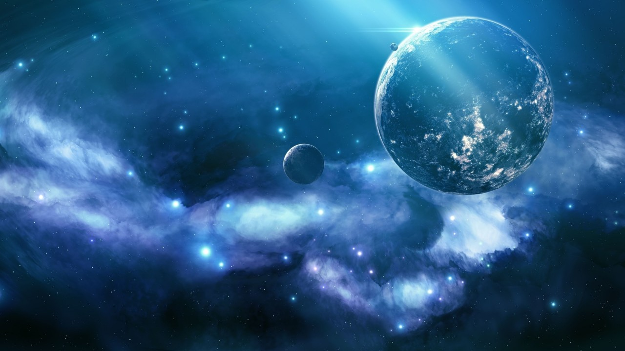 Planet, unknown, blue, nebula,  sparkle wallpapers