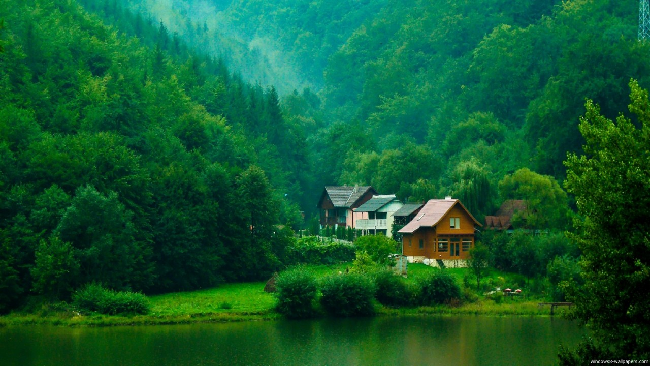 Free, house, valley, green, nature, windows wallpapers