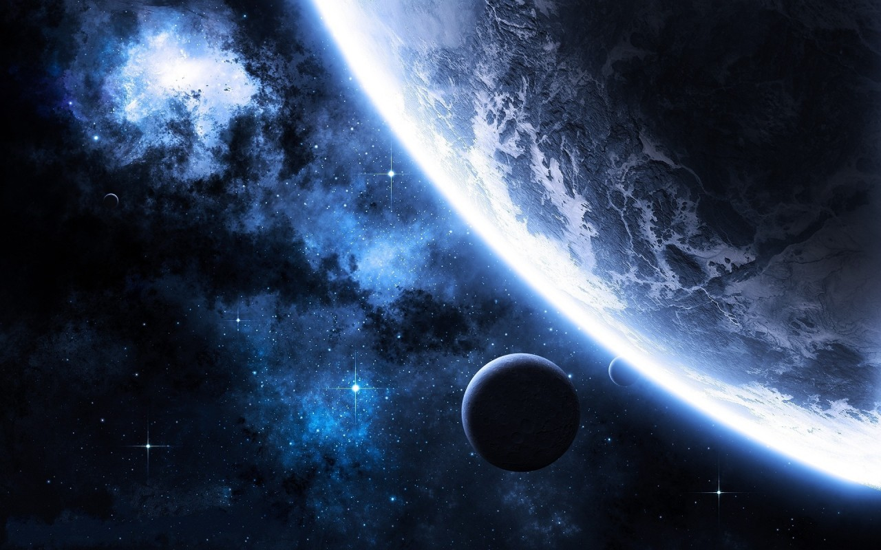 Blue planets, nebula, space wallpapers