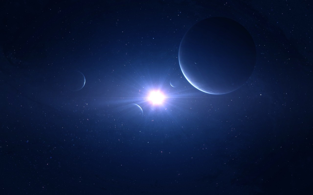 Blue space, planet, universe, star, light, galaxy wallpapers