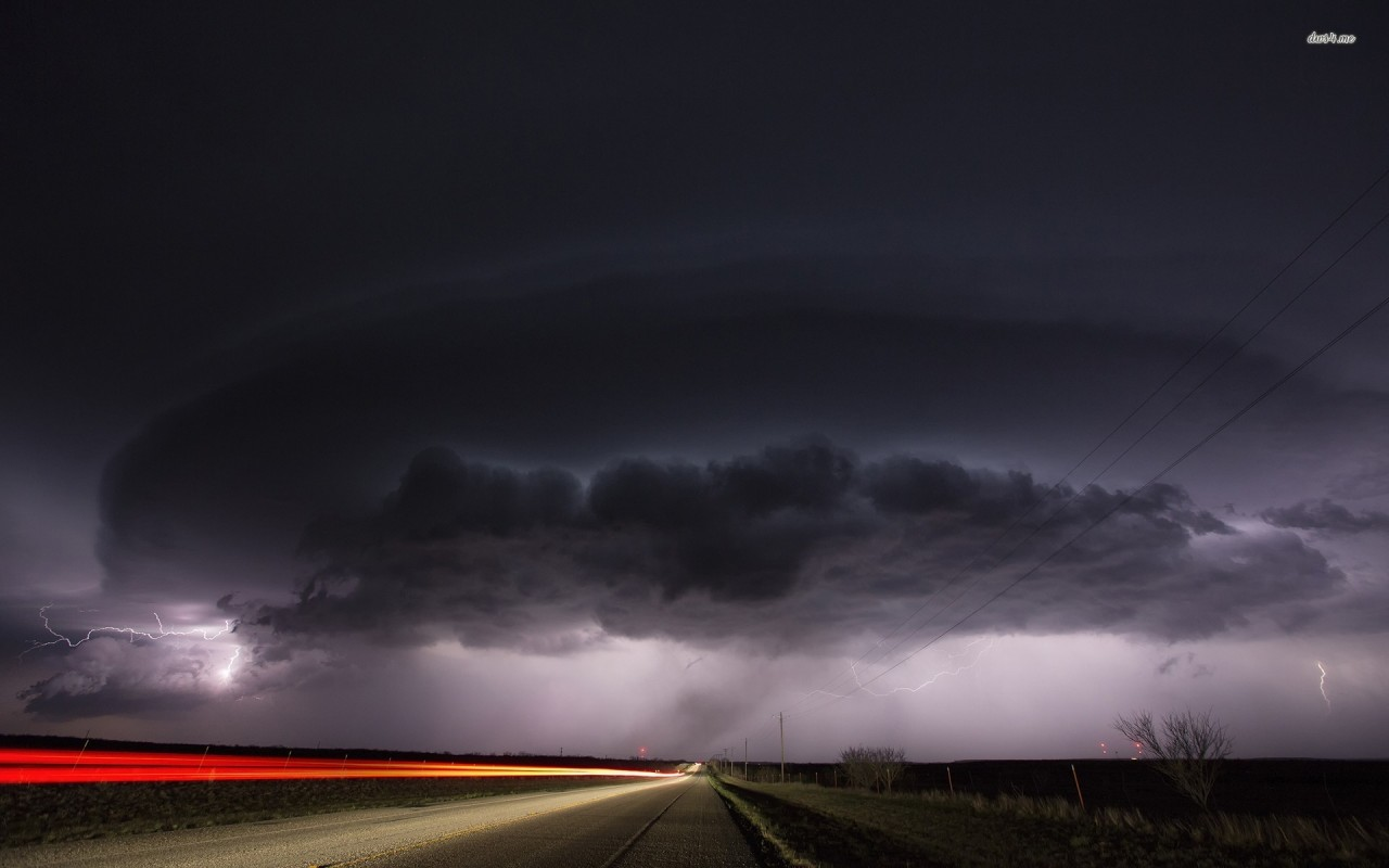 Storm brewing over the highway, sky, cloud, lightning, road, photography wallpapers
