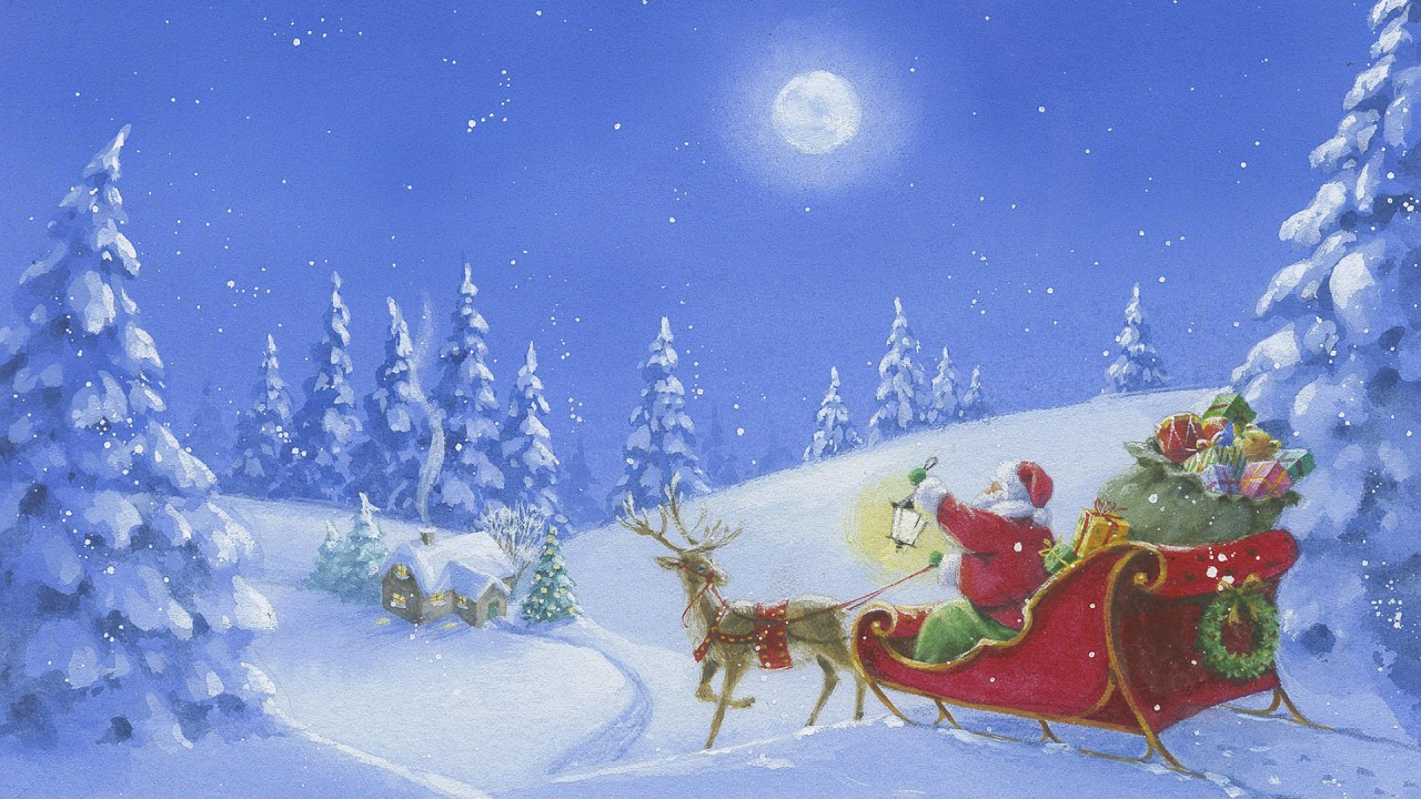 Santa Sleigh, christmas, winter, vector, reindeer wallpapers