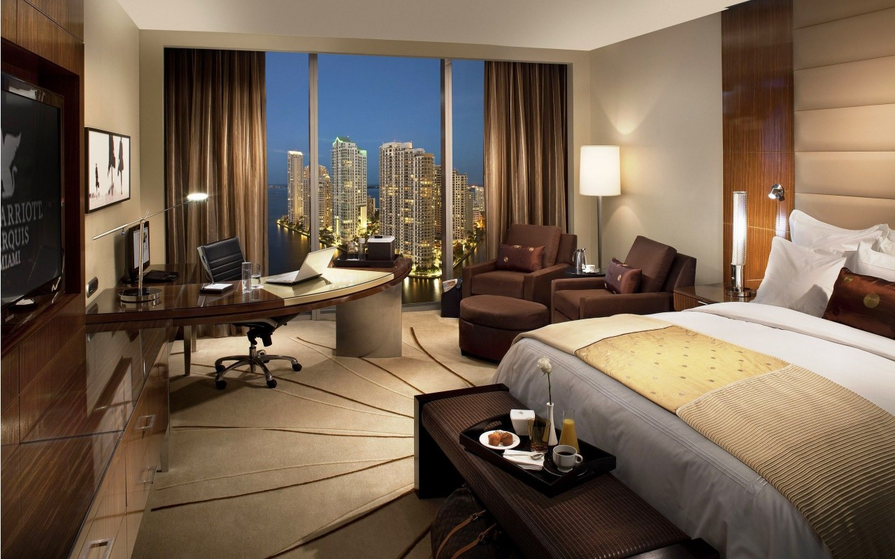 Nice hotel room, interior design, bed, chair, photography wallpapers