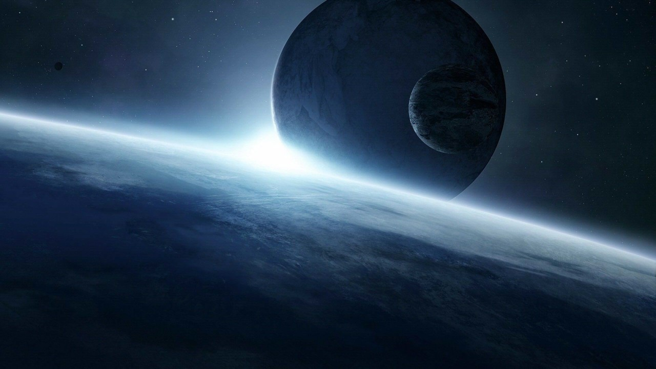 Scifi Planets, blue, space, abstract wallpapers