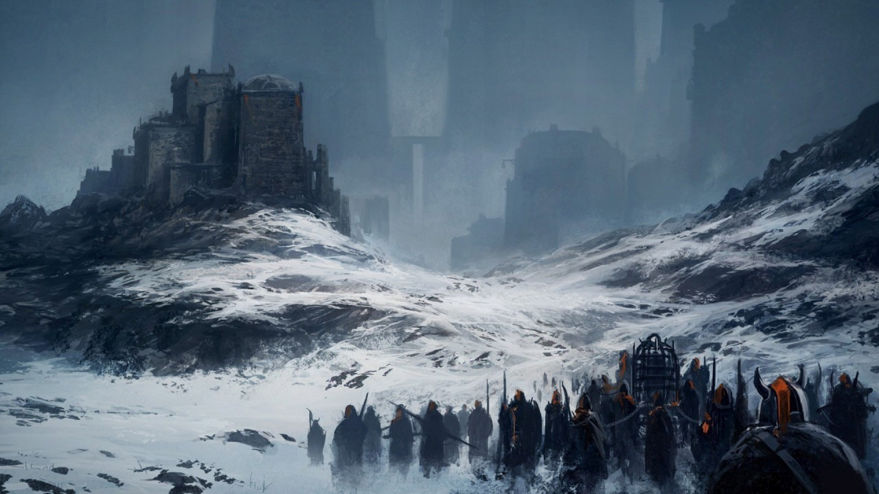 Army heading to the fortress, soldier, snow, winter, mountain, fantasy wallpapers
