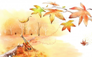 Violin in the park, autumn, tree, digital-art wallpapers