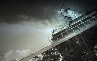 Eiffel in the clouds wallpapers