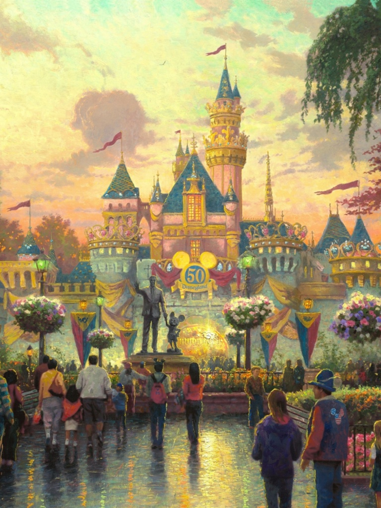 768x1024 walt disney castle anniversary ipad mini wallpaper