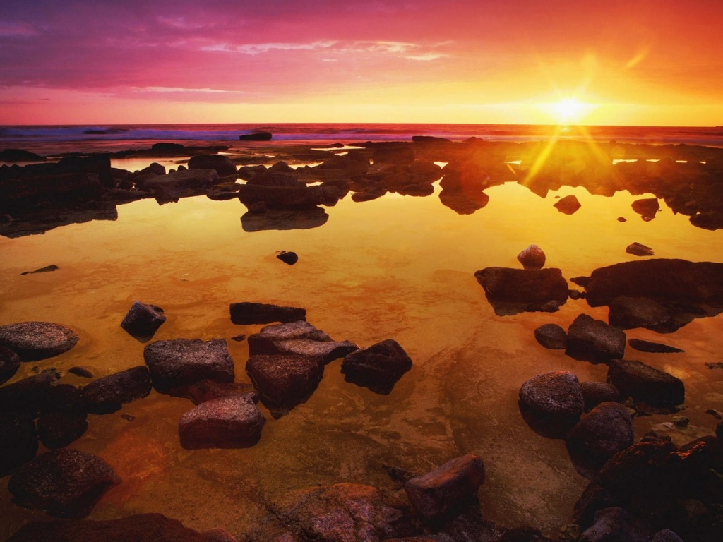920x520 Water rocks sunset
