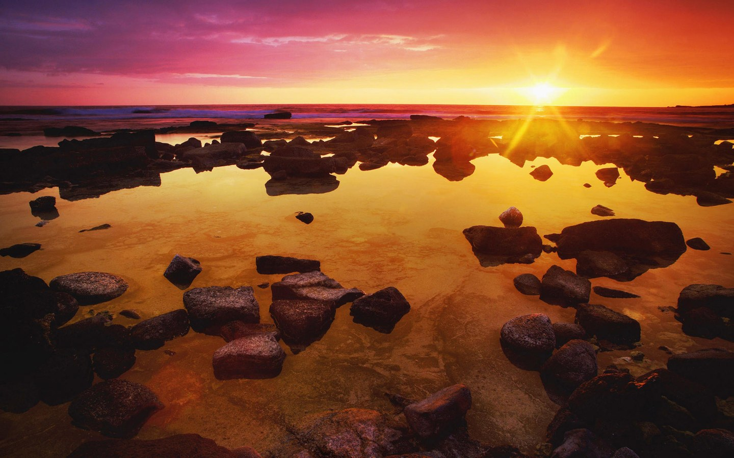 1440x900 Water rocks sunset