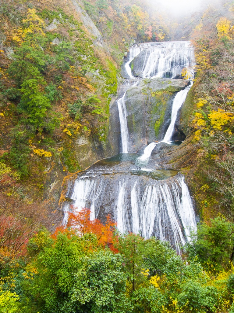 768x1024 Waterfall Cascade Vivid Autumn