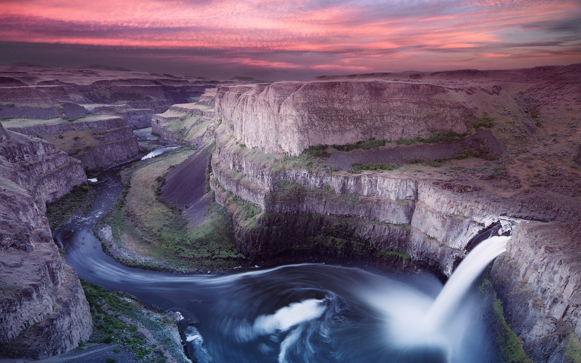 waterfall cliff river pink sky wallpapers